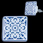 Blue & White Patterned Ceramic Square Doorknob Drawer Knob Cabinet Pull 3x3 cm